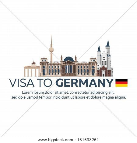 Visa To Germany. Travel To Germany. Document For Travel. Vector Flat Illustration.