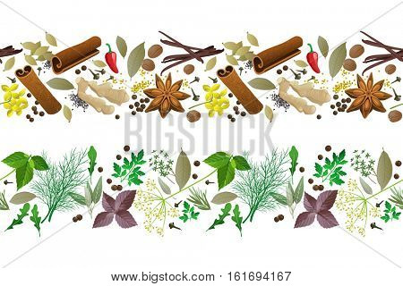 2 herbs and spices seamless borders on white background