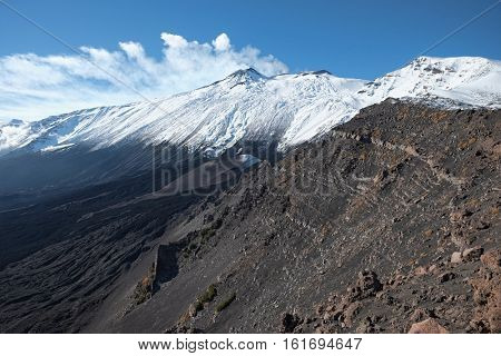 Etna mountain covered snow and the Valle del Bove from Serra delle Concazze, Sicily
