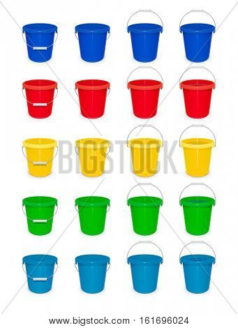 Blue plastic empty bucket with handle. Tool for cleaning and housekeeping. Instrument working. Vector illustration. Set