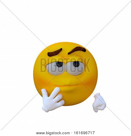 One yellow smiley. Sarcastic. 3D rendering, 3D illustration