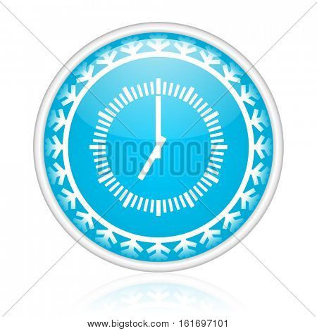 Time vector icon. Winter and snow design round web blue button. Christmas and holidays pushbutton.