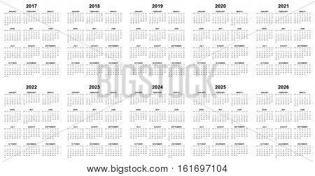 Simple editable vector calendars for year 2017 2018 2019 2020 2021 2022 2023 2024 2025 2026 mondays first