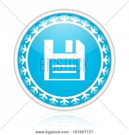 Save vector icon. Winter and snow design round web blue button. Christmas and holidays pushbutton.