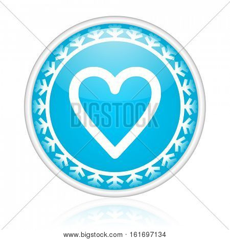 Heart love vector icon. Winter and snow design round web blue button. Christmas and holidays pushbutton.