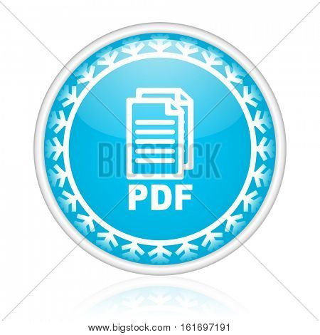 PDF vector icon. Winter and snow design round web blue button. Christmas and holidays pushbutton.