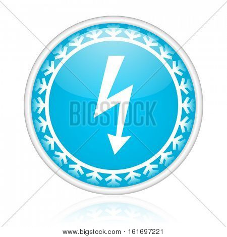 Power bolt vector icon. Winter and snow design round web blue button. Christmas and holidays pushbutton.