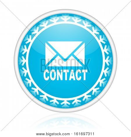 Contact vector icon. Winter and snow design round web blue button. Christmas and holidays pushbutton.