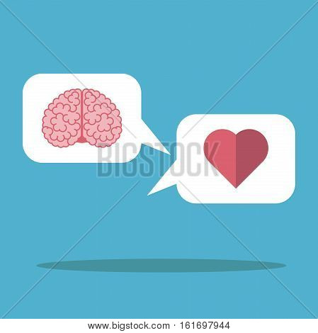 Heart and brain in the white cloud on blue background. Mind logic emotion and love concept. Flat design. Vector illustration. EPS 8 no transparency