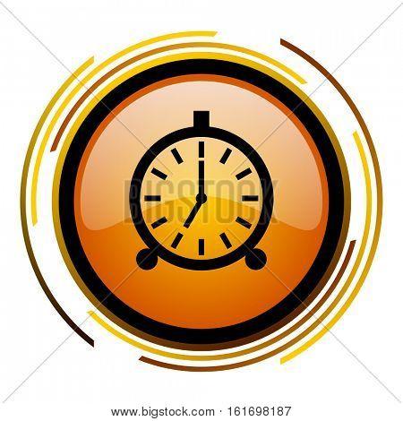 Alarm clock orange glossy vector icon.
