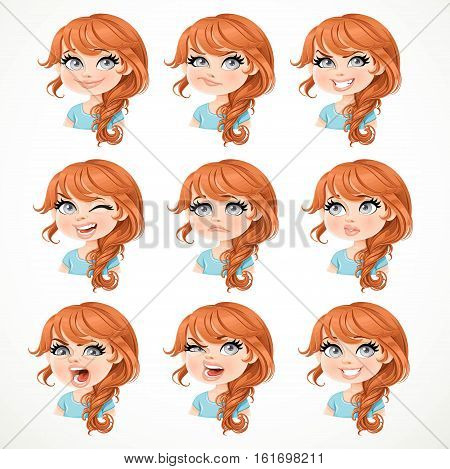 Beautiful Cartoon Brunette Girl With  Brown Hair Portrait Of Different Emotional States Isolated On