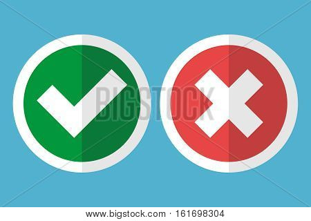 White tick and cross in a red circle with a frame on blue background. Wrong reject and poll concept. Flat design. Vector illustration. EPS 8 no transparency