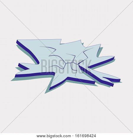 Broken and Cracked Ice Floe Icon Symbol Design. Vector Ice Floe illustration isolated on blue background.