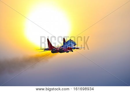 Kubinka,Moscow Region, Russia - December 07,2016: Mig-29 aerobatic team Swifts in evening sun.