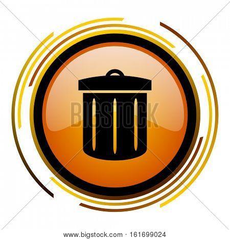 Trash can orange glossy vector icon.