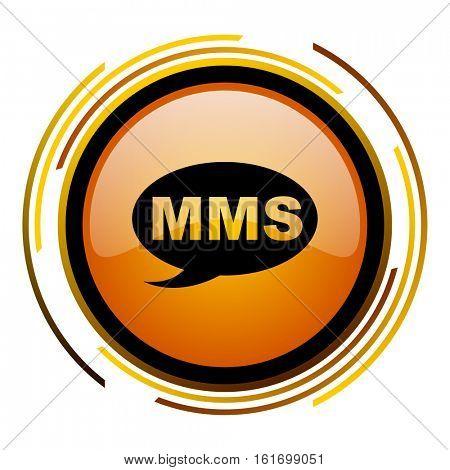 MMS orange glossy vector icon.