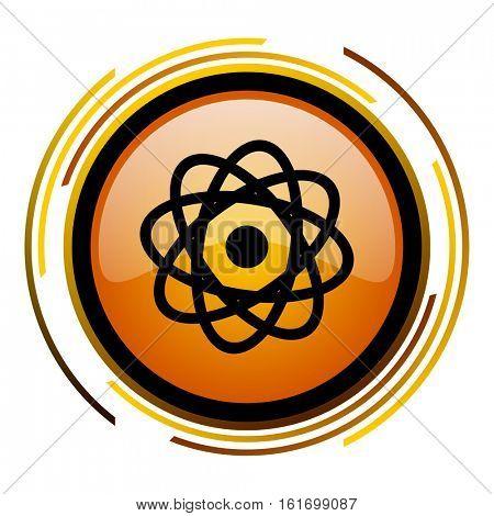 Atom button orange glossy vector icon.