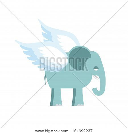 Elephant With Wings. Fantastic Animal. Flying Elephant Isolated.