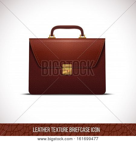 brown color leather briefcase icon, realistic vector illustration Isolated in white background.