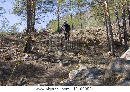 Ulan-ude, Russia - April 27: Unidentified Racer Overcomes The Jump On The Competition For The