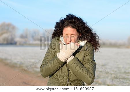 Young Woman With A Seasonal Cold And Flu