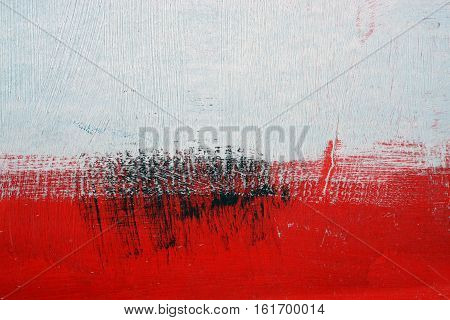 Black, White, Red Acrylic Paint  On Metal Surface. Brushstroke 8