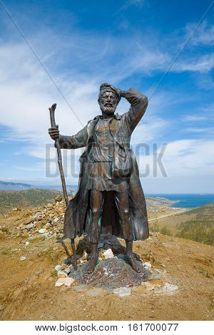 Lake Baikal shore, Irkutsk region, Siberia, Russia. August 11, 2015: monument to tramp, who escaped from the Trans-Baikal hard labor