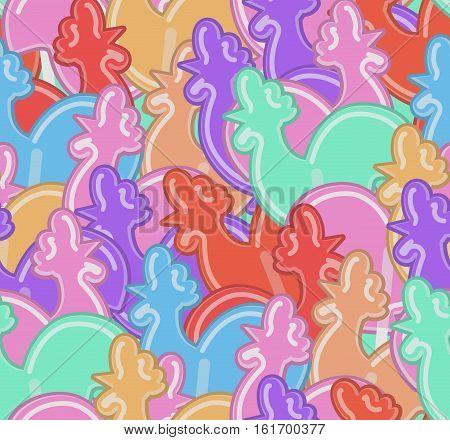 Lollipops Cock Texture. Cockerel Candy Seamless Pattern. Caramel Background. Sweet Christmas Ornamen