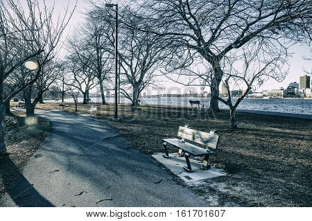 park near the river in winter. walking path along the waterfront on a sunny winter day. Charles river, Boston, USA