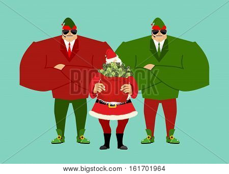 Santa And Bag Of Money. Elf Claus Bodyguards. Christmas Gift Cash. Red Sack With Dollars