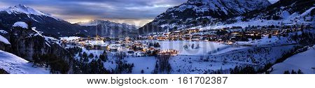 View of Aussois su Arc village by night France