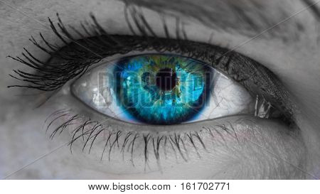 beautiful female eye with colored retina black and white