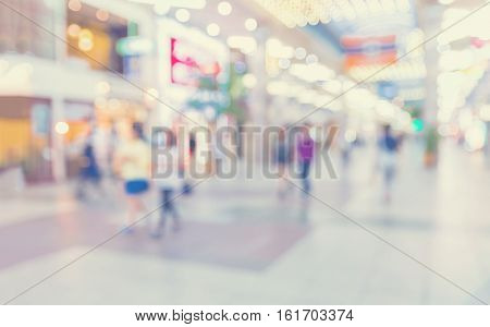 Defocused Shopping Mall With People Walking