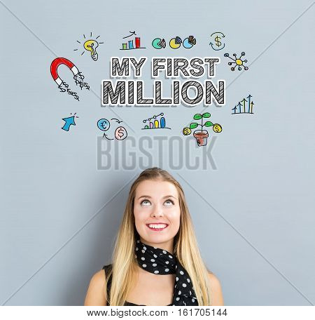 My First Million Concept With Happy Young Woman