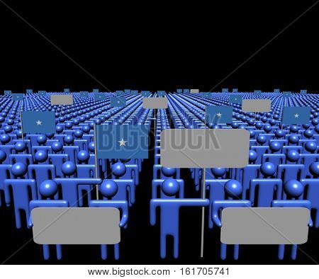 Crowd of people with signs and Somalian flags 3d illustration