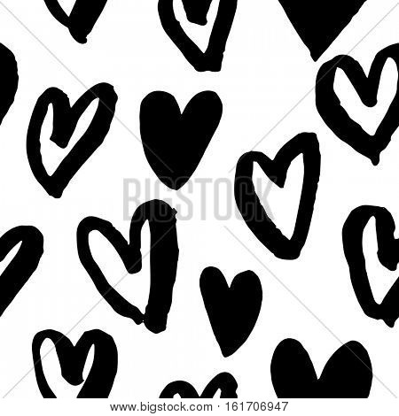 Pattern of hearts vector sketch for Valentine day design. Seamless heart art background hand drawn by marker or felt-tip pen drawing. Romantic symbols for love greeting valentines elements