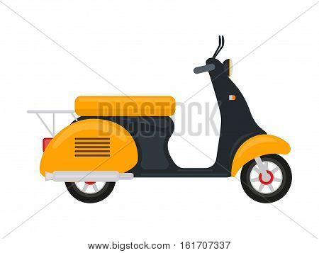 Vector illustration cartoon yellow scooter with an engine. Isolated on white background. Flat style. Moped with a motor. Little old motorcycle. Two-wheeled transport for delivery. Nobody scooter.