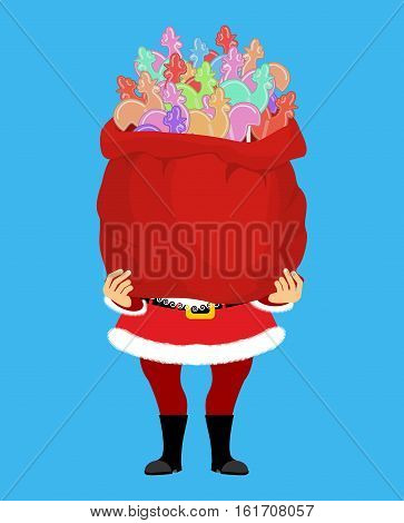 Santa Claus And Bag Of Cockerel Candy. Christmas Sack And Lollipops Cock. Xmas Candy. Lollipop Roost