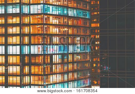 An abstract city building background at night