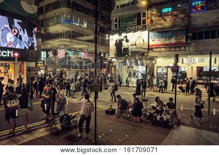 HONG KONG - October 2016: Street view with people in shopping area. Causeway Bay