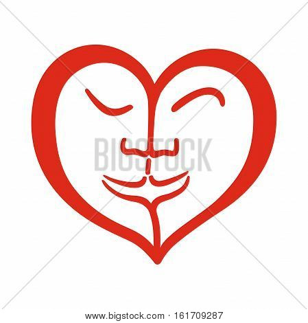 One heart with two different faces. Symbol of love, for valentine's day, kissing couple, heart design with faces inside.