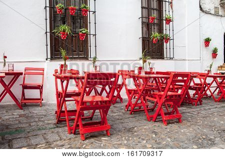 traditional outdoor terrace bar and restauran in arcos de la frontera cadiz