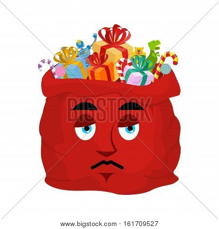 Santa Bag Sad Emoji. Christmas Sack With Gifts Sorrowfu Emotion. Red Sackful Of Gifts Isolated