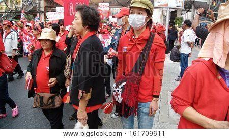 BANGKOK THAILAND - JANUARY 232011: Red Shirts demonstration