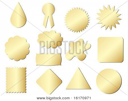 (raster image of vector) stickers different shape golden texture