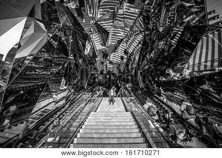 TOKYO, JAPAN - NOVEMBER 12, 2016: Mirror entrance to Tokyu Plaza Fashion shopping centre in Tokyo, Japan. Tokyu Plaza Omotesando Harajuku is located in popular shoping Shibuya district of Tokyo.