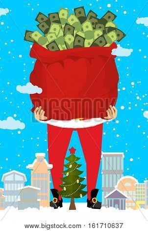 Santa And Bag Of Money. Christmas Gift Cash. Red Sack With Dollars