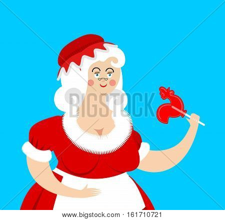 Mrs. Claus Isolated. Wife Of Santa Claus. Christmas Woman In Red Dress And White Apron. Xmas Grandmo