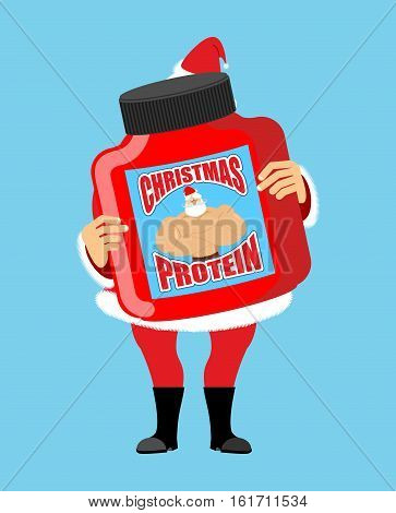 Christmas Protein. Sports Nutrition As A Gift For Holiday. Strong Santa Claus Recommends. Illustrati