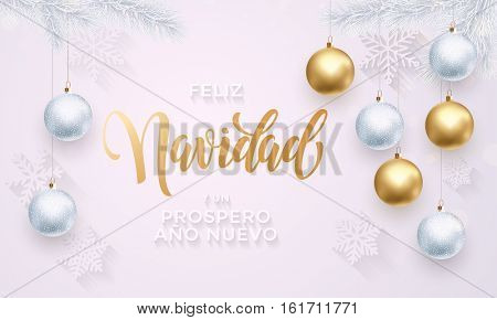 Spanish Merry Christmas Feliz Navidad gold calligraphy lettering. Golden decoration ornament with Christmas ball on vip white background snowflake pattern. Premium luxury Christmas holiday greeting